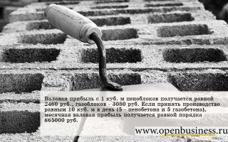 Свой бизнес на производстве газобетона и пенобетона: прибыль от 30%